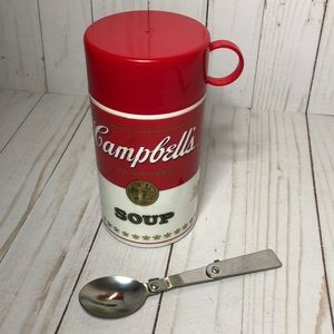 Vintage Campbell Soup thermos Container & spoon